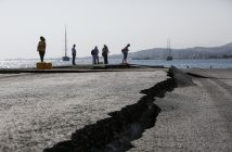 epa06103036 A crack in the damaged promenade, following an earthquake on the island of Kos, Greece, 22 July 2017. Two earthquake-related fatalities were reported on the island of Kos in the early morning hours of 21 July, while several others were injured from a strong 6.7 magnitude earthquake that shook the island and much of the southeast Aegean region and southwestern Turkey. A 39-year-old Turk and a 27-year-old Swede are reportedly dead, according to sources. Five seriously injured persons were transferred to the Heraklion University Hospital in Crete. Some buildings have suffered serious damage. The island's port has sustained damage while the airport is operating normally.  EPA/YANNIS KOLESIDIS