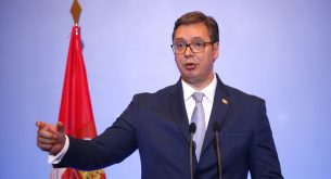 epa06084627 Serbian President Aleksandar Vucic speaks during a press conference, after a meeting with Greek Prime Minister Alexis Tsipras (unseen) in Thessaloniki, Greece, 13 July 2017. Greece and Serbia signed agreements on energy, transport, networks and tourism within the framework of the 1st High-Level Cooperation Council.  EPA/NIKOS ARVANITIDIS