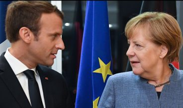 France's President Emmanuel Macron (L) meets with Germany's Chancellor Angela Merkel on the eve of the European Union Digital Summit in Tallinn on September 28, 2017. European Union leaders meet for an informal dinner ahead of  full summit on Friday. Talks are expected to feature reactions to French President Emmanuel Macron's speech outlining his new vision for Europe, and discussions on digital issues, a priority for host Estonia. / AFP PHOTO / JANEK SKARZYNSKIJANEK SKARZYNSKI/AFP/Getty Images