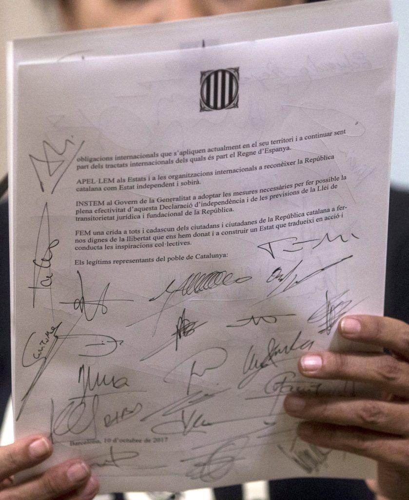 Декларация за независимостта на Каталуния, снимка: БГНЕС