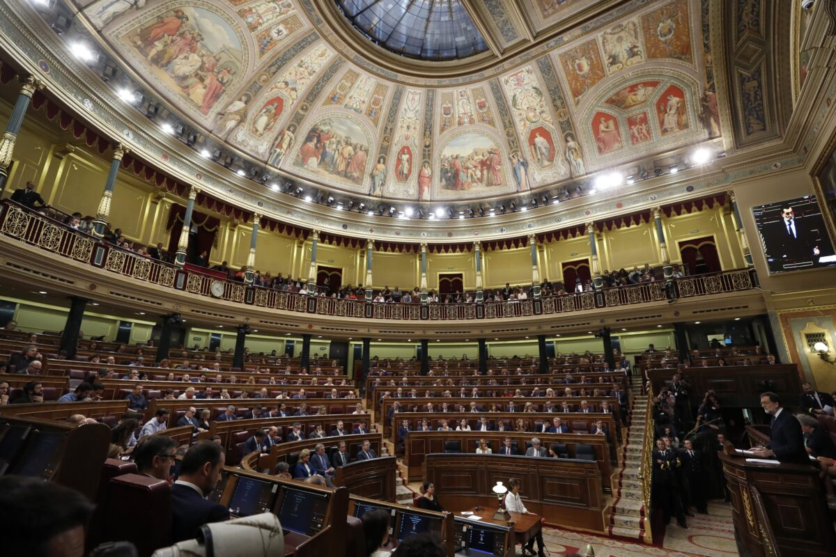 epa06259395 Spanish Prime Minister Mariano Rajoy delivers a speech during Question Time at the Lower House in Madrid, Spain, 11 October 2017. The Government undergoes Question Time a day after Catalonia's regional President Carles Puigdemont declared the region's independence but suspended its effects immediately for a few weeks to search a dialogue with the Spanish Central Government. EPA/JAVIER LIZON