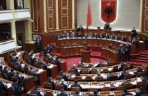 A general view of Albania's parliament in session, in Tirana February 24, 2011. Albania's parliament lifted the immunity of former economy minister Dritan Prifti on Thursday to face prosecution on corruption charges, after Prifti blew the whistle on the alleged corruption of his former party boss. Last week, parliament lifted the immunity of former deputy premier Ilir Meta, Prifti's party chief in the Socialist Integration Movement (SIM) party, after Prifti released a video he had taped showing Meta pressuring to grant illegal favours.        REUTERS/Arben Celi (ALBANIA - Tags: POLITICS CRIME LAW)