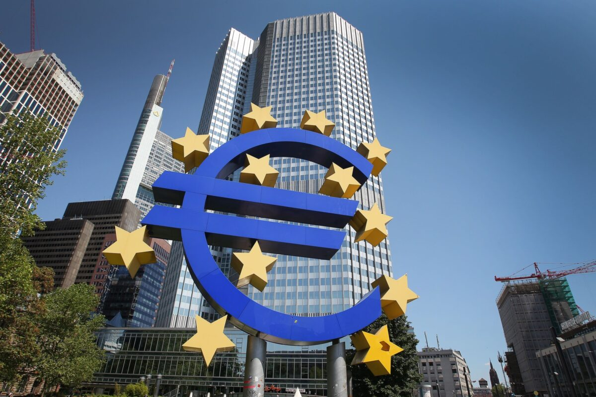 A logo of the European currency Euro stands in front of the headquarters of the European Central Bank (ECB) in Frankfurt am Main on June 6, 2013, 2013. The European Central Bank held its key rates unchanged, as widely expected, at its regular monthly policy meeting. The bank's new headquarter is to be finished in 2014. AFP PHOTO / DANIEL ROLAND (Photo credit should read DANIEL ROLAND/AFP/Getty Images)