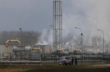 Smoke rises from Austria's largest natural gas import and distribution station after a gas explosion in Baumgarten, Austria December 12, 2017 REUTERS/Heinz-Peter Bader