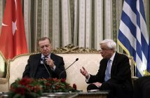 epa06373663 Greek President Prokopis Pavlopoulos (R) talks with his Turkish counterpart Recep Tayyip Erdogan (L) during a meeting at the Presidential Mansion in Athens, Greece, 07 December 2017. Turkish President Recep Tayyip Erdogan's visit to Greece, the first visit of a Turkish president to Greece after more than six decades, is extremely important, according to diplom atic sources, at a time when the state of Turkey's relations with the European Union and the United States makes it important to upgrade the Athens-Ankara bilateral communications channel to address crises, reduce tension and manage regional challenges.  EPA/SIMELA PANTZARTZI / POOL