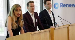 Sandra Khadhouri, together with fellow Renew party members James Clarke and James Torrance, speaks at the launch of the new political party in London, Britain, February 19, 2018. REUTERS/Peter Nicholls