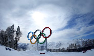 SOCHI, RUSSIA - FEBRUARY 19:  Mist rises behind the Olympic Rings during day 12 of the Sochi 2014 Winter Olympics at Laura Cross-country Ski & Biathlon Center on February 19, 2014 in Sochi, Russia.  (Photo by Julian Finney/Getty Images)