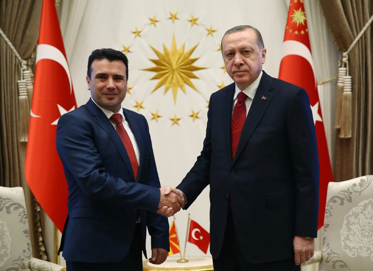 epa06519898 A handout photo made available by the Turkish Presidential Press Office shows Turkish President Recep Tayyip Erdogan (R) shaking hands with Prime Minister of the Former Yugoslav Republic of Macedonia (FYROM), Zoran Zaev (L) during their meeting in Ankara, Turkey, 12 February 2018 (issued 13 February 2018).  EPA/TURKISH PRESIDENTAL PRESS OFFICE / HANDOUT  HANDOUT EDITORIAL USE ONLY/NO SALES
