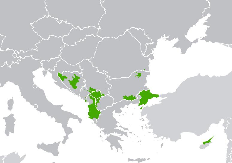 Територии с компактно мюсюлманско население на Балканите. снимка: Уикипедия
