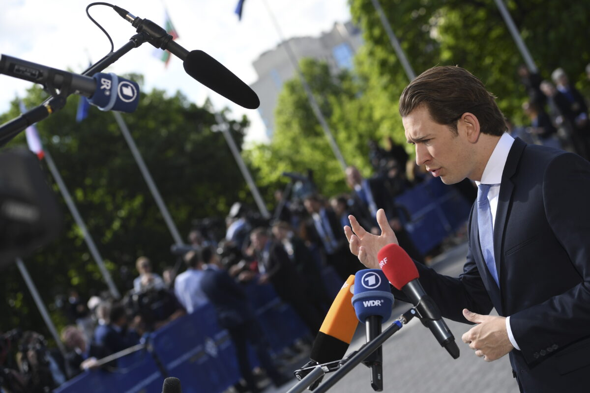 epa06743496 Austria's Chancellor Sebastian Kurz arrives at an informal European Union (EU) summit with Western Balkans countries at the National Palace of Culture in Sofia, Bulgaria, 17 May 2018. EU leaders will discuss European future for Western Balkans, and the response to President Trump's policies on trade and Iran. EPA/VASSIL DONEV