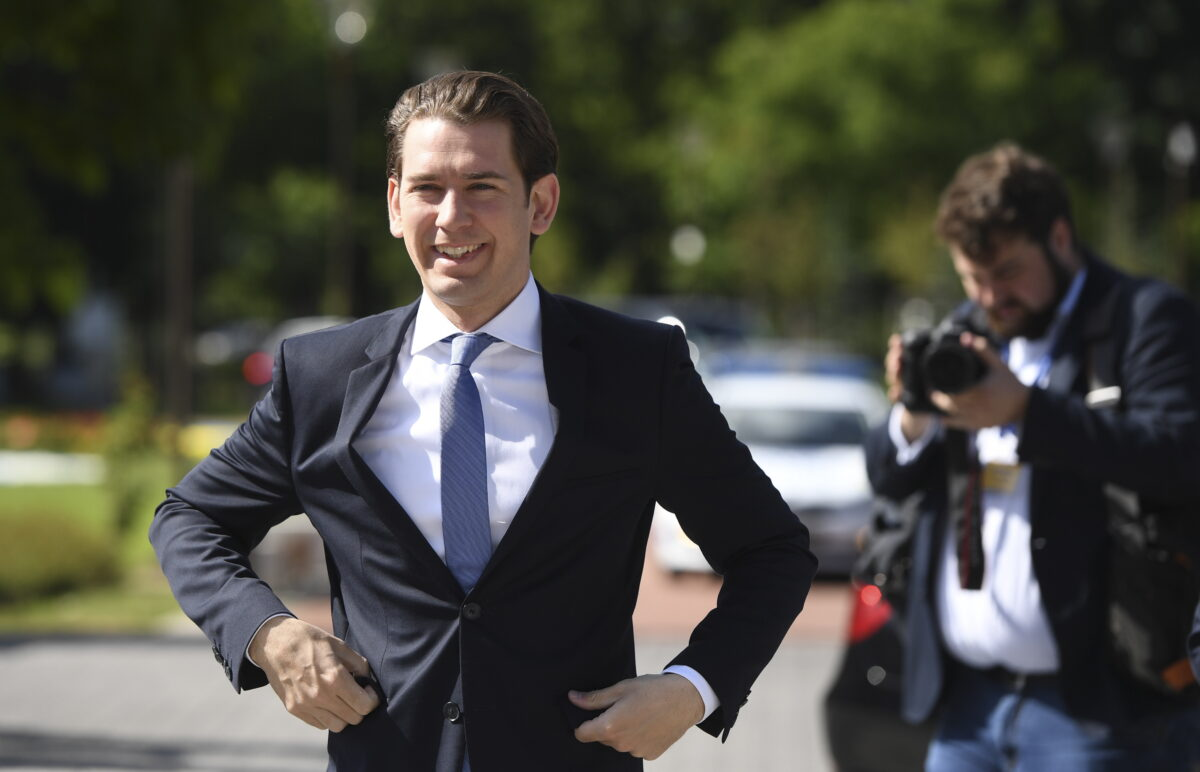 epa06743494 Austria's Chancellor Sebastian Kurz arrives at an informal European Union (EU) summit with Western Balkans countries at the National Palace of Culture in Sofia, Bulgaria, 17 May 2018. EU leaders will discuss European future for Western Balkans, and the response to President Trump's policies on trade and Iran. EPA/VASSIL DONEV