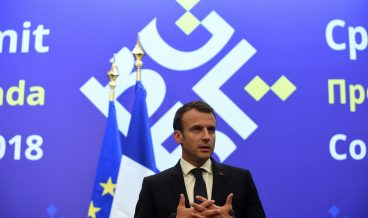 epa06744820 French President Emmanuel Macron speaks during a press conference at the EU-Western Balkans Summit meeting at the National Palace of Culture, in Sofia, Bulgaria, 17 May 2018. EU leaders met for a two-days summit to discuss a European future for Western Balkans, and the response to President Trump's policies on trade and Iran.  EPA/BORISLAV TROSHEV