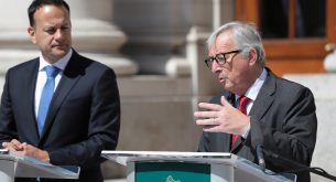 epa06827355 A handout photo made available by the Irish government showing Irish Taoiseach (Prime Minister) Leo Varadkar (L) with President of the European Council Jean Claude Juncker (R) at the Government buildings in Dublin, Ireland, 21 June 2018. Reports state that the two men will discuss the state of play in Brexit negotiations in advance of next week's European Council meeting. Other topics will include trade, Economic and Monetary Union, EU migration and the EU's budget.  EPA/Tom McLoughlin HANDOUT  HANDOUT EDITORIAL USE ONLY/NO SALES