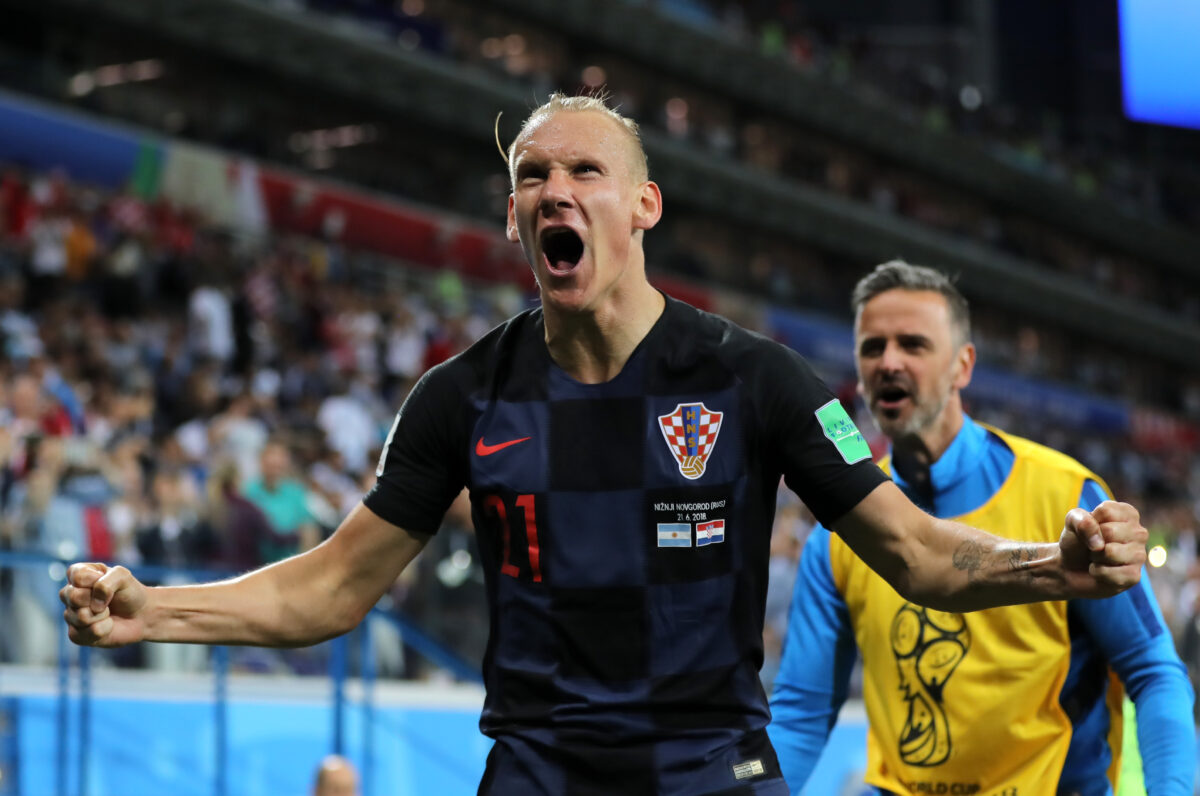 NIZHNY NOVGOROD, RUSSIA - JUNE 21: Domagoj Vida of Croatia celebrates his team's second goal during the 2018 FIFA World Cup Russia group D match between Argentina and Croatia at Nizhny Novgorod Stadium on June 21, 2018 in Nizhny Novgorod, Russia. (Photo by Elsa/Getty Images)