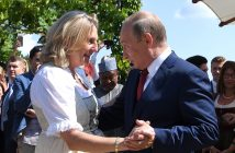 epa06956045 Russian President Vladimir Putin (C-R) dances with Austrian Foreign Minister Karin Kneissl (C-L) during her wedding to Austrian businessman Wolfgang Meilinger in Gamlitz, Austria, 18 August 2018. According to reports, Putin attended Kneissl's wedding in the Styrian municipality of Gamlitz on 18 August, before travelling to Meseberg, Germany, where he is to meet with German Chancellor Angela Merkel.  EPA/ROLAND SCHLAGER / POOL