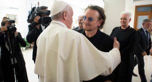 Pope Francis meets Bono Vox