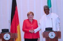 PRESIDENT BUHARI RECEIVES ANGEL MERKEL 7B. R-L; President Muhammadu Buhari and the German Chancellor H.E Angela Merkel during a press conference after the official visit by the German Chancellor to State House Abuja. PHOTO; SUNDAY AGHAEZE. AUGUST 31 2018.