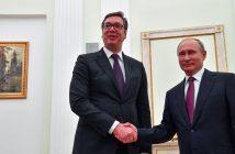 epa07063497 Russian President Vladimir Putin (R) shakes hands with Serbian President Aleksandar Vucic (L) during their meeting  at the Kremlin in Moscow, Russia, 02 October 2018. Aleksandar Vucic is on a working visit in Moscow.  EPA/YURI KADOBNOV / POOL