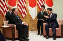 epa07073406 United States Secretary of State Mike Pompeo (2-L) and Japanese Prime Minister Shinzo Abe (R) speak during a meeting at Abe's office in Tokyo, Japan, 06 October 2018. Pompeo has arrived in Tokyo for talks with Japanese officials ahead of his trip to North Korea.  EPA/EUGENE HOSHIKO / POOL