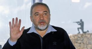 epa07164554 (FILE) - Israeli Foreign Minister Avigdor Liberman meets his Party activists at Merom Golan lookout position on the Golan Heights, next to the Syrian border on 30 January 2015  (reissued 14 November 2018). Reports on 14 November 2018 state Lieberman has announced his resignation as Defense Minister of Israel as a protest against the cease-fire Israel agreed to with Hamas following recent heavy rocket fire targeting Israel from Gaza Strip.  EPA/ATEF SAFADI