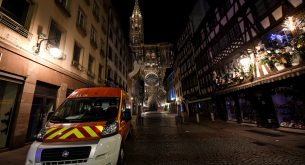 epa07224976 Rescue vehicles are parked near the Christmas market where a deadly shooting took place in Strasbourg, France, 12 December 2018. According to media reports, four people have been killed and more than 10 people have been injured after a deadly attack at the Christmas market in Strasbourg. The gunman is reported to be at large and the motive for the attack is still unclear.  EPA/PATRICK SEEGER