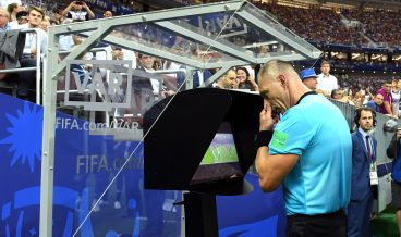MOSCOW, RUSSIA - JULY 15:  Referee Nestor Pinata reviews VAR footage before awarding France a penalty during the 2018 FIFA World Cup Final between France and Croatia at Luzhniki Stadium on July 15, 2018 in Moscow, Russia.  (Photo by David Ramos - FIFA/FIFA via Getty Images)