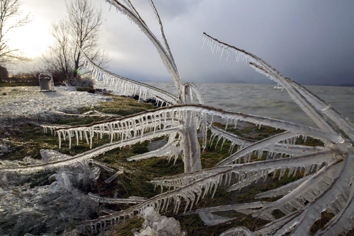 Frosty weather on the shore of Lake Balaton