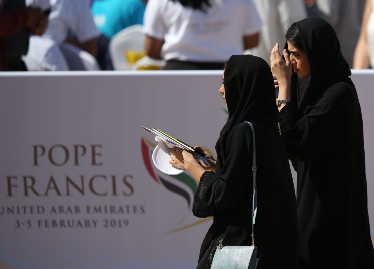epa07344823 UAE women attend Pope Francis' Papal mass at Zayed Sports City, United Arab Emirates, 05 February 2019. Pope Francis is on three-day visit to the UAE, making him the first pontiff to visit an Arab Gulf state.  EPA/ALI HAIDER