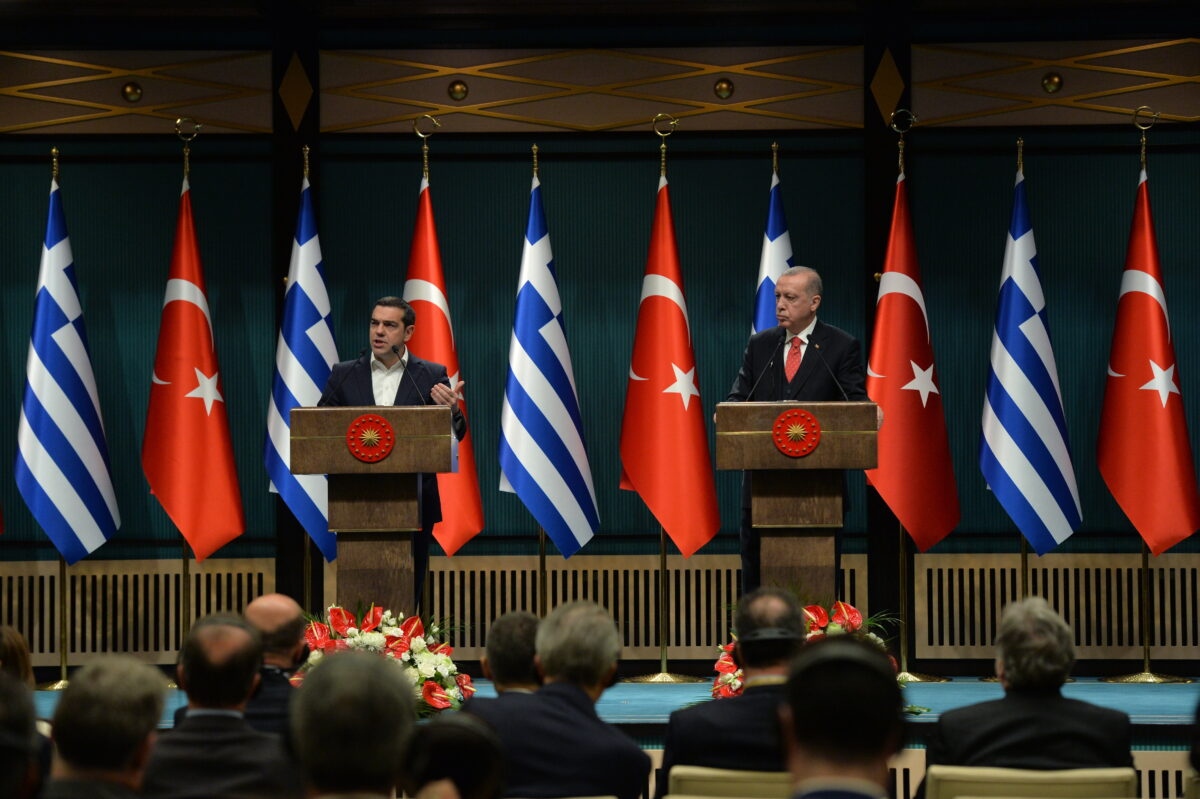 epa07345997 Turkish President Recep Tayyip Erdogan (R) and Greek Prime Minister Alexis Tsipras (L) attend a press conference after their meeting in Ankara, Turkey, 05 February 2019. Tsipras is in Turkey for a two-days official visit.  EPA/STR
