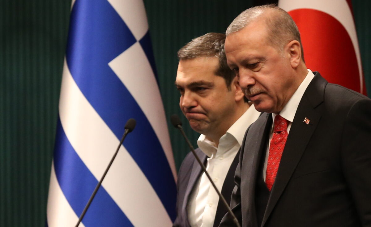 epaselect epa07345986 Turkish President Recep Tayyip Erdogan (R) and Greek Prime Minister Alexis Tsipras (L) attend a press conference after their meeting in Ankara, Turkey, 05 February 2019. Tsipras is in Turkey for a two-days official visit.  EPA/STR