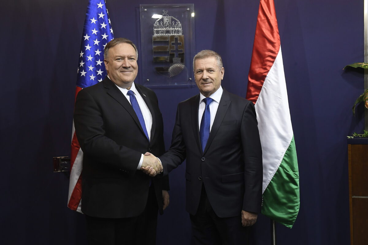 epa07362729 Hungarian Minister of Defence Tibor Benko (R) receives US Secretary of State Mike Pompeo in the ministry in Budapest, Hungary, 11 February 2019. Pompeo is on an official visit to Hungary.  EPA/Tamas Kovacs HUNGARY OUT