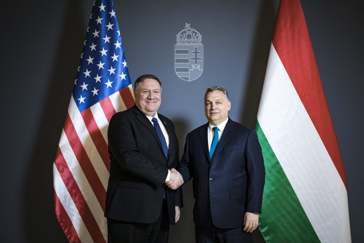 epa07362936 A handout photo made available by the Hungarian Prime Minister's Press Office showing Hungarian Prime Minister Viktor Orban (R) receives US Secretary of State Mike Pompeo in the Prime Minister's Residence in Budapest, Hungary, 11 February 2019. Pompeo is on an official visit to Hungary.  EPA/Balazs Szecsodi/Hungarian Prime Minister's Press Office/ HANDOUT HUNGARY OUT HANDOUT EDITORIAL USE ONLY/NO SALES