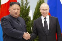 epa07526661 Russian President Vladimir Putin (R) and North Korea's leader Kim Jong Un pose for a picture during their meeting in Vladivostok, Russia, 25 April 2019. Putin and Kim are set to have one-on-one meeting at the Far Eastern State University on the Russky Island across a bridge from Vladivostok. The meeting will be followed by broader talks involving officials from both sides.  EPA/ALEXANDER ZEMLIANICHENKO / POOL