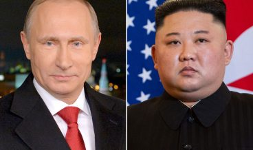 This combination of files pictures made on April 18, 2019, shows portraits of Russian President Vladimir Putin (L) taken on December 31, 2014 in Moscow, and North Korea's leader Kim Jong Un taken on February 27, 2019 in Hanoi. - North Korea's leader Kim Jong Un will visit Russia for talks with Vladimir Putin this month, the Kremlin said on April 18, 2019, as tensions between Washington and Pyongyang spiked higher. (Photo by ALEXEY DRUZHININ and Saul LOEB / various sources / AFP)        (Photo credit should read ALEXEY DRUZHININ,SAUL LOEB/AFP/Getty Images)