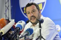 epa07604570 Deputy Premier and Interior Minister Matteo Salvini of League Party speaks during a press conference in Milan, Italy, 26 May 2019. The European Parliament election was held by member countries of the European Union (EU) from 23 to 26 May 2019.  EPA/FLAVIO LO SCALZO