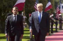 epa07630222 US President Donald Trump (R) and French President Emmanuel Macron (L) attend the French - USA Commemoration marking the 75th anniversary of the Allied landings on D-Day at the Normandy American Cemetery and Memorial in Colleville-sur-Mer, France, 06 June 2019. World leaders are attending memorial events on 06 June in Normandy, France to mark the 75th anniversary of the D-Day landings, which marked the beginning of the end of World War II in Europe.  EPA/IAN LANGSDON / POOL