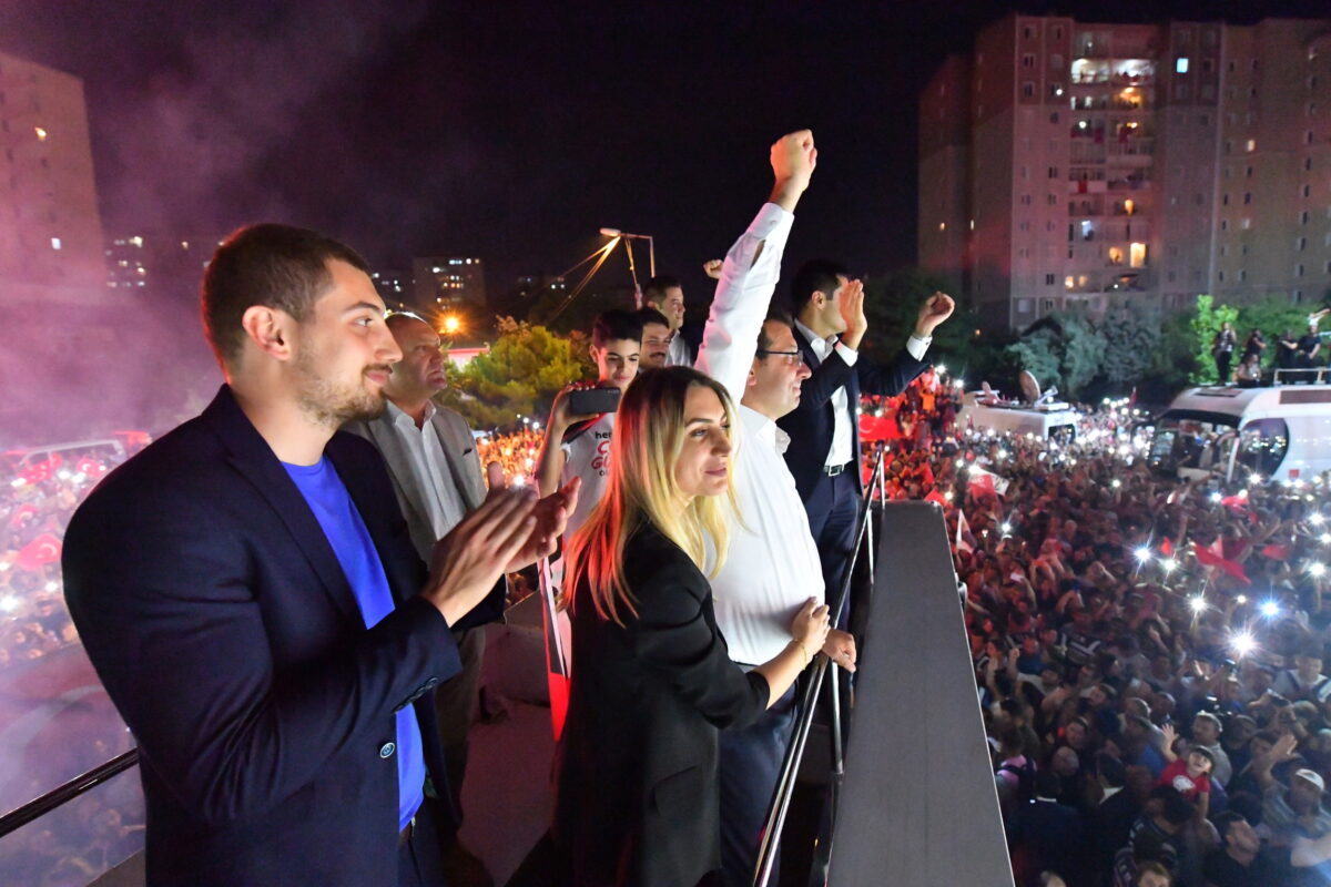 epa07669624 A handout photo made available by the CHP Press office shows newly elected Istanbul Mayor Ekrem Imamoglu (2-R) of Republican People's Party (CHP) and his wife Dilek (2-L) greet to his thousands of supporters as they gather during Imamoglu's speech after the Istanbul mayoral elections re-run, in Istanbul, Turkey, 23 June 2019. According to unofficial results Ekrem Imamoglu won the election with 54 percent of the votes. The Turkish Electoral Commission ordered a repeat of the mayoral election in Istanbul for 23 June 2019, after Turkish President Erdogan's AK Party had alleged there was 'corruption' behind his party losing to a candidate of main opposition Republican People's Party's (CHP) in the 31 March 2019 polls. EPA/ONUR GUNAL / CHP PRESS OFFICE / HANDOUT HANDOUT EDITORIAL USE ONLY/NO SALES