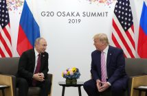 epa07679072 Russian President Vladimir Putin (L) and US President Donald J.Trump (R) during their meeting on the sidelines of the G20 leaders summit in Osaka, Japan, 28 June 2019. The summit gathers leaders from 19 countries and the European Union to discuss topics such as global economy, trade and investment, innovation and employment.  EPA/MICHAEL KLIMENTYEV/SPUTNIK/KREMLIN POOL