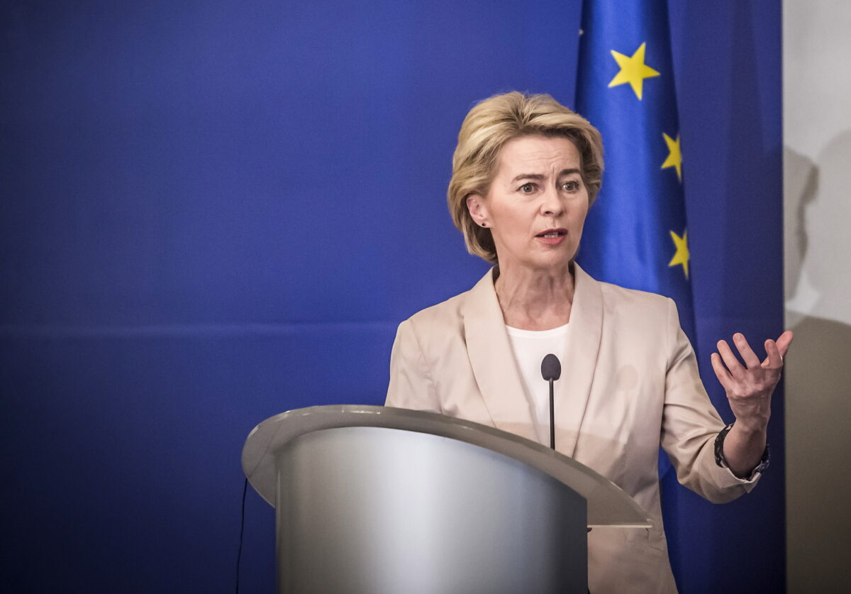 epa07801006 President-elect of the European Commission Ursula von der Leyen speaks during an official visit in Sofia, Bulgaria, 29 August 2019. President of the European Commission Ursula von der Leyen arrived for an official visit to Sofia. EPA/Borislav Troshev