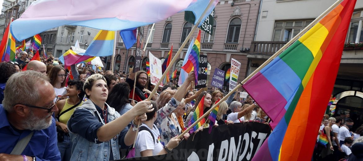 epa07827812 Participants carry placards and rainbow colored flags during Sarajevo's first-ever gay pride parade, in Sarajevo, Bosnia and Herzegovina, 08 September 2019. Representatives of LGBT (Lesbian, Gay, Bisexual and Transgender) organisations and their supporters took part in the event that also commemorates the 50th anniversary of the so-called Stonewall Riots in New York City, USA, when a police raid at the Stonewall Inn in Greenwich Village in 1969 sparked riots that were leading to the gay liberation movement.  EPA/FEHIM DEMIR