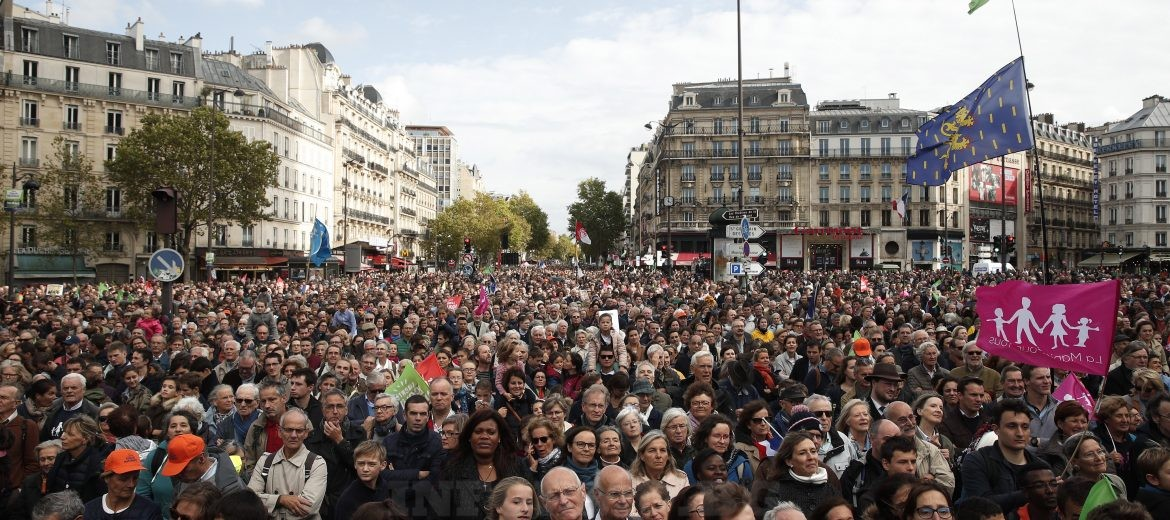 epa07901464 Thousands of protesters gather in the streets during a demonstration against a new bill discussed at French Parliament that would give single women and lesbian couples access to in-vitro fertilization and related procedures called PMA (Procreation Medicalement Assiste or assisted reproduction) in Paris, France, 06 October 2019.  EPA/YOAN VALAT Alternative crop